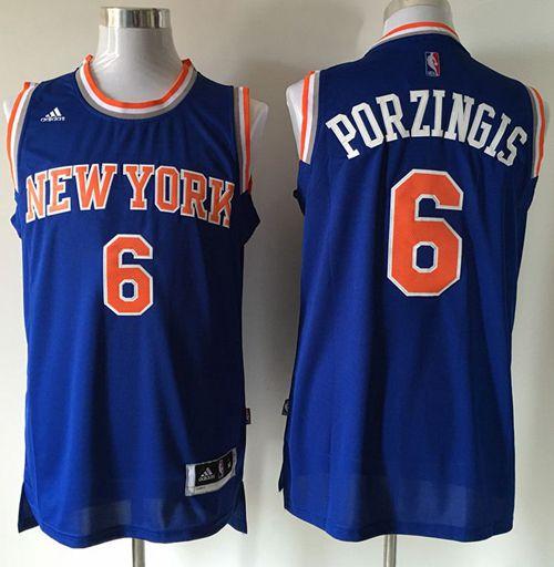 Knicks #6 Kristaps Porzingis Blue Stitched NBA Jersey [NBA