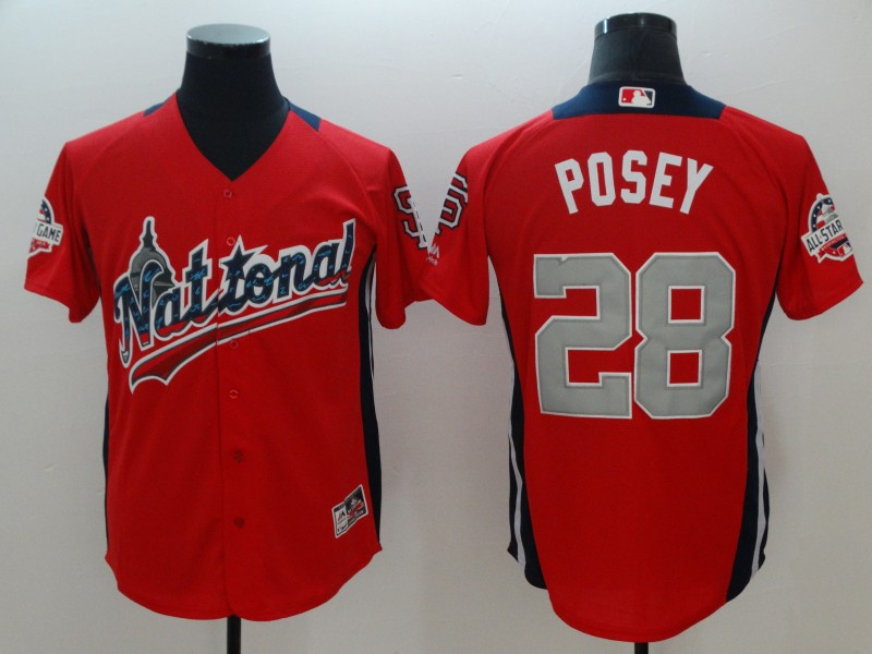 National League #28 Buster Posey Red 2018 MLB All-Star Game Home Run Derby Jersey