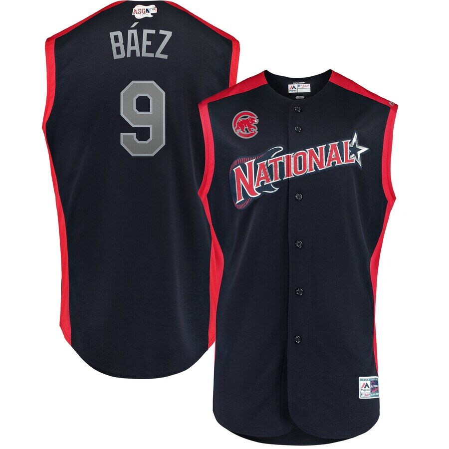 National League #9 Javier Báez Navy 2019 MLB All-Star Game Workout Stitched Jersey