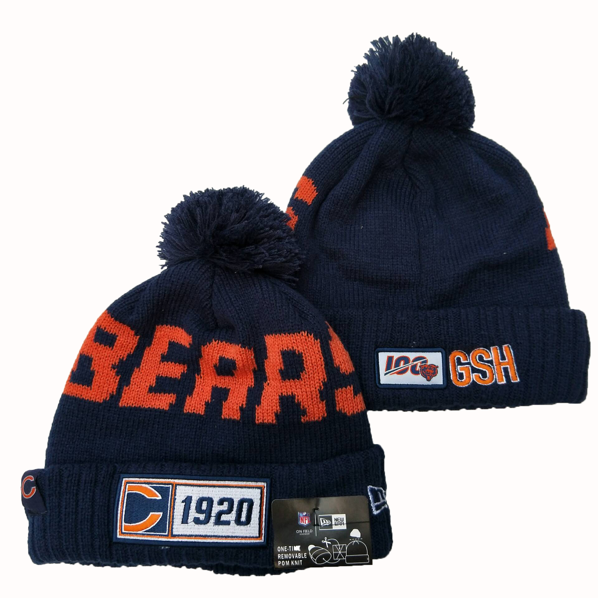 NFL Chicago Bears New Era 2019 100th Season Knit Hats 043
