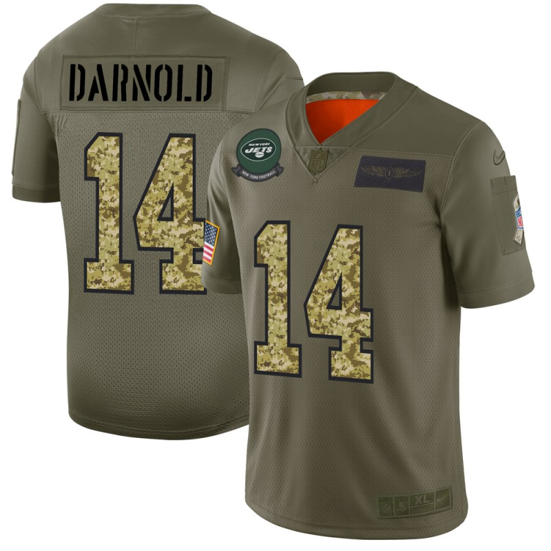 Men's New York Jets #14 Sam Darnold 2019 Olive/Camo Salute To Service Limited Stitched NFL Jersey