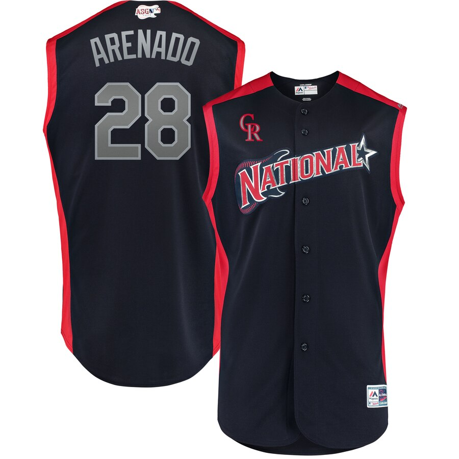 National League #28 Nolan Arenado Navy 2019 MLB All-Star Game Workout Stitched Jersey