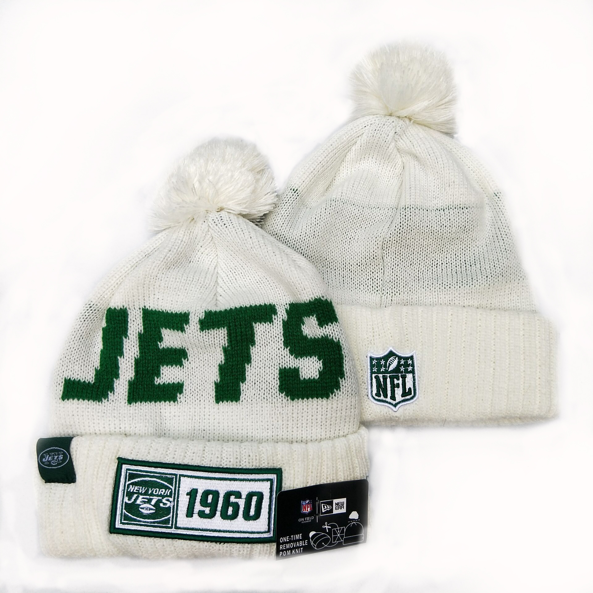 NFL New York Jets New Era 2019 Sideline Road Reverse Sport Knit Hats 015