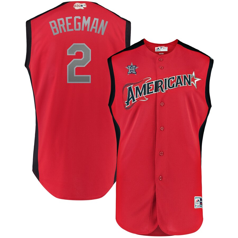 American League #2 Alex Bregman Red 2019 MLB All-Star Game Workout Stitched Jersey