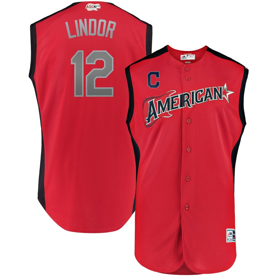 American League #12 Francisco Lindor Red 2019 MLB All-Star Game Workout Stitched Jersey