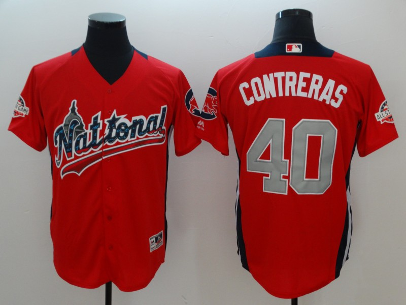 National League #40 Willson Contreras Red 2018 MLB All-Star Game Home Run Derby Player Jersey