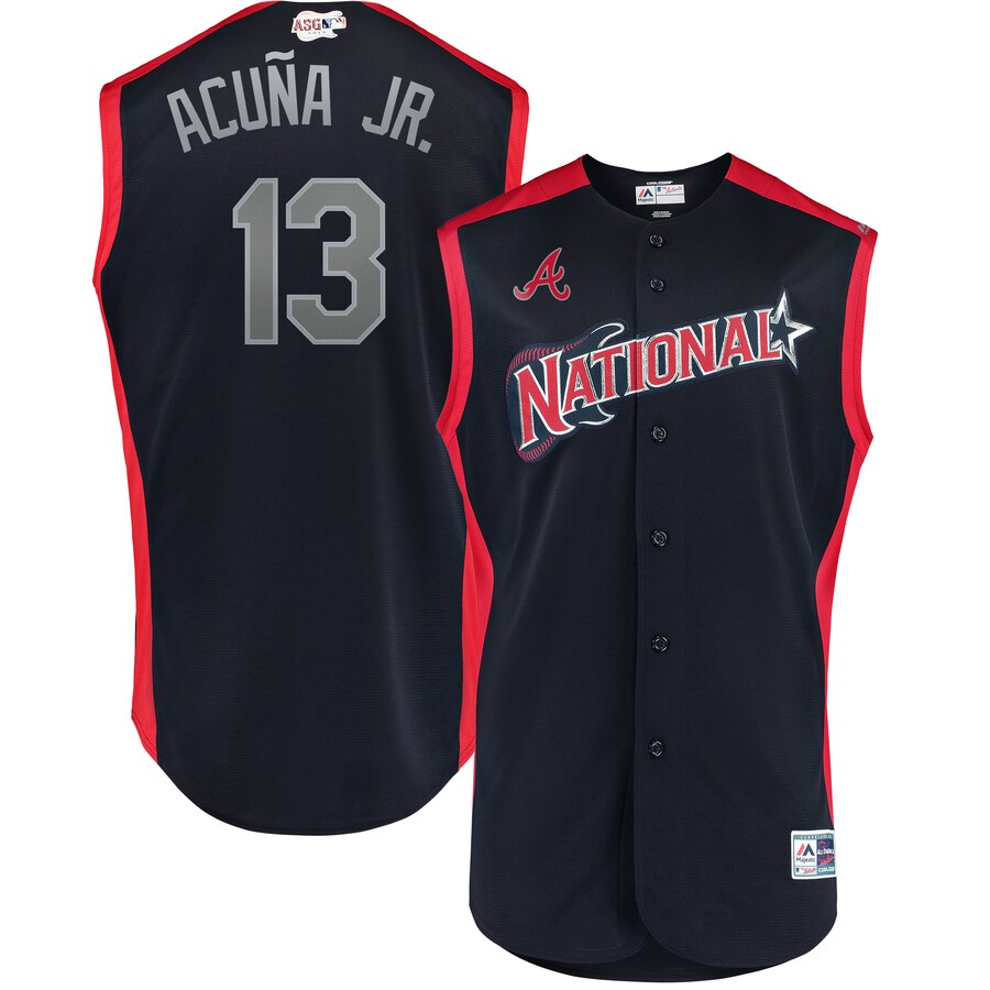 National League #13 Ronald Acuña Jr. Navy 2019 MLB All-Star Game Workout Stitched Jersey
