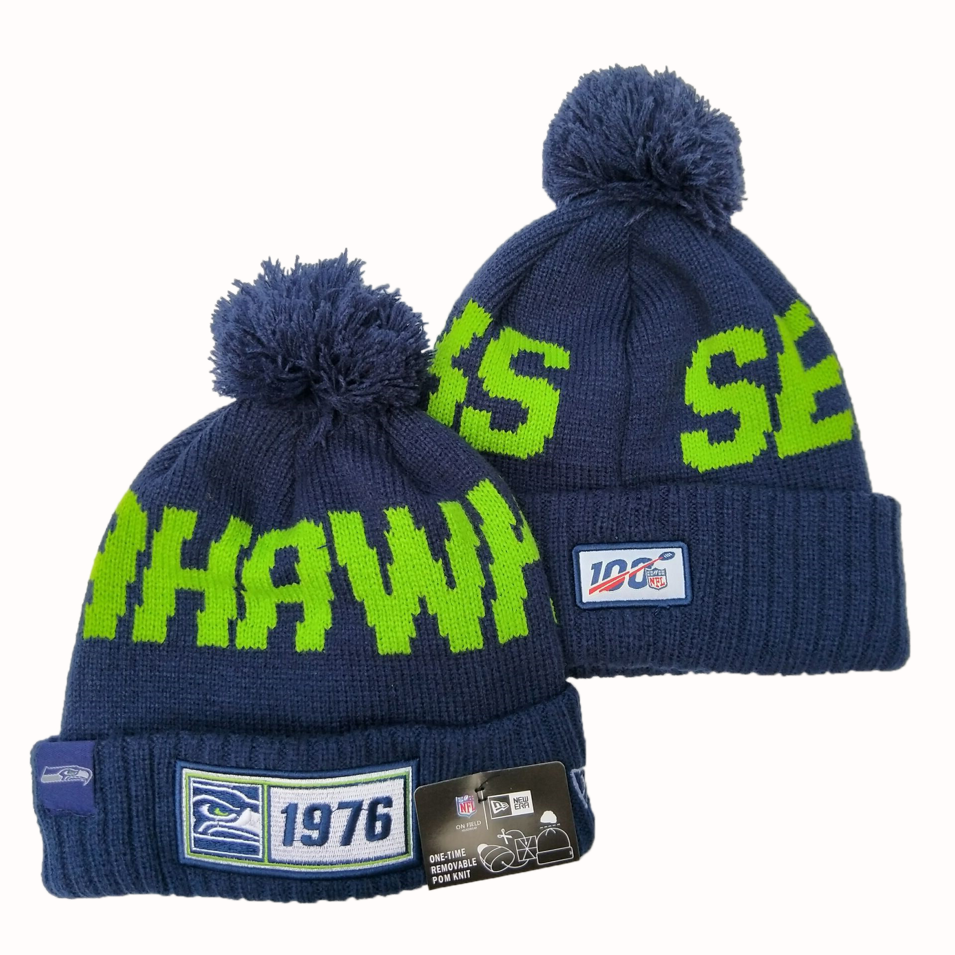 NFL Seattle Seahawks New Era 2019 Sideline Road Reverse Sport Knit Hats 050