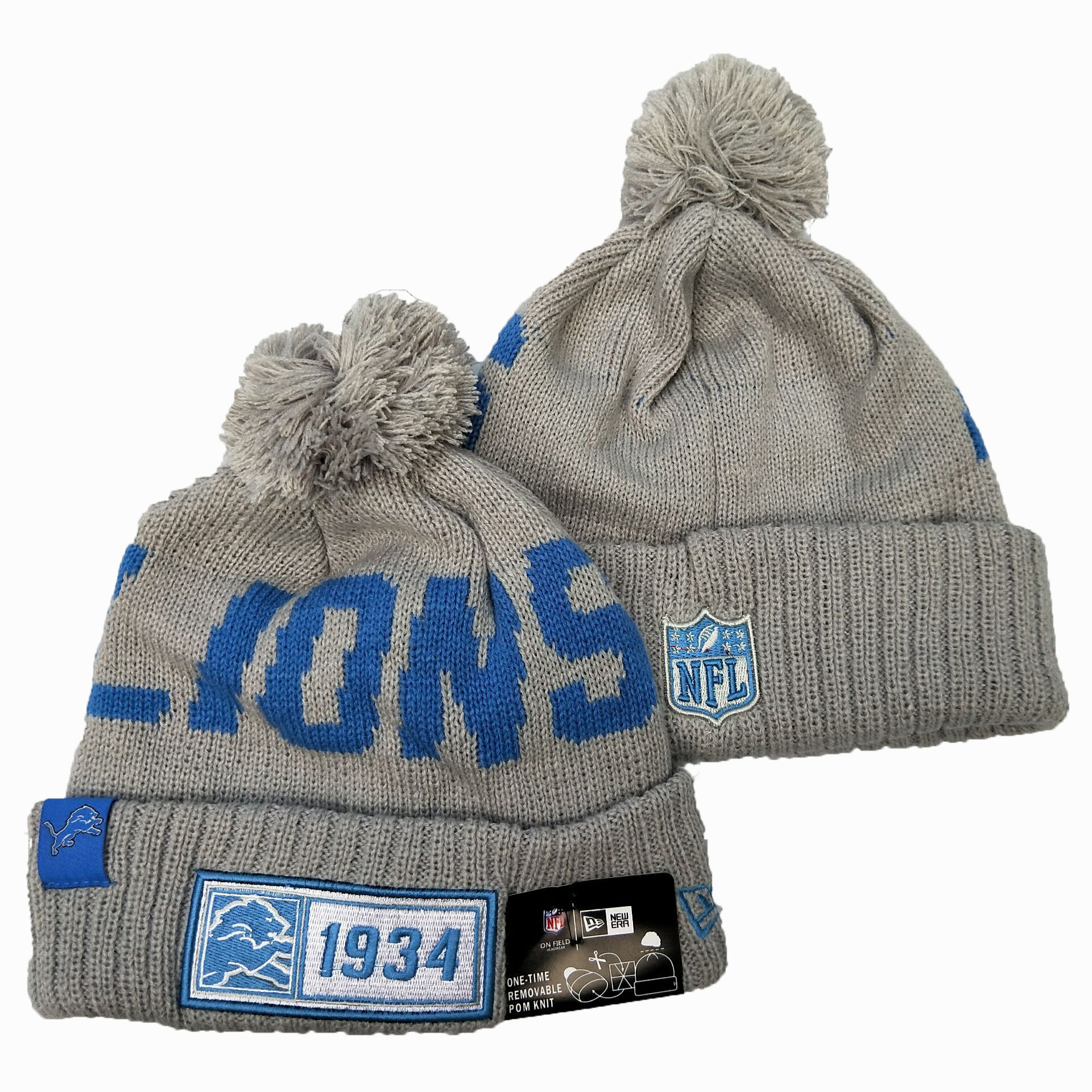 NFL Detroit Lions New Era 2019 Sideline Road Reverse Sport Knit Hats 017