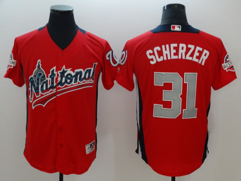 National League #31 Scherzer Majestic Red 2018 MLB All-Star Game Home Run Derby Jersey