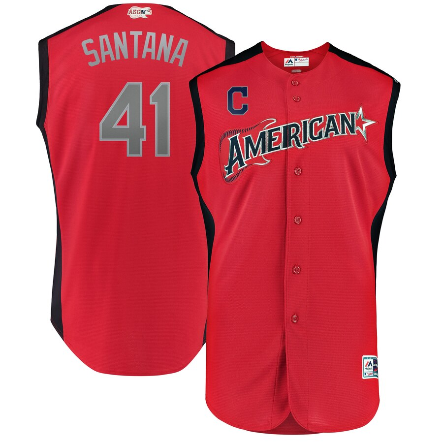 American League #41Carlos Santana Red 2019 MLB All-Star Game Workout Stitched Jersey