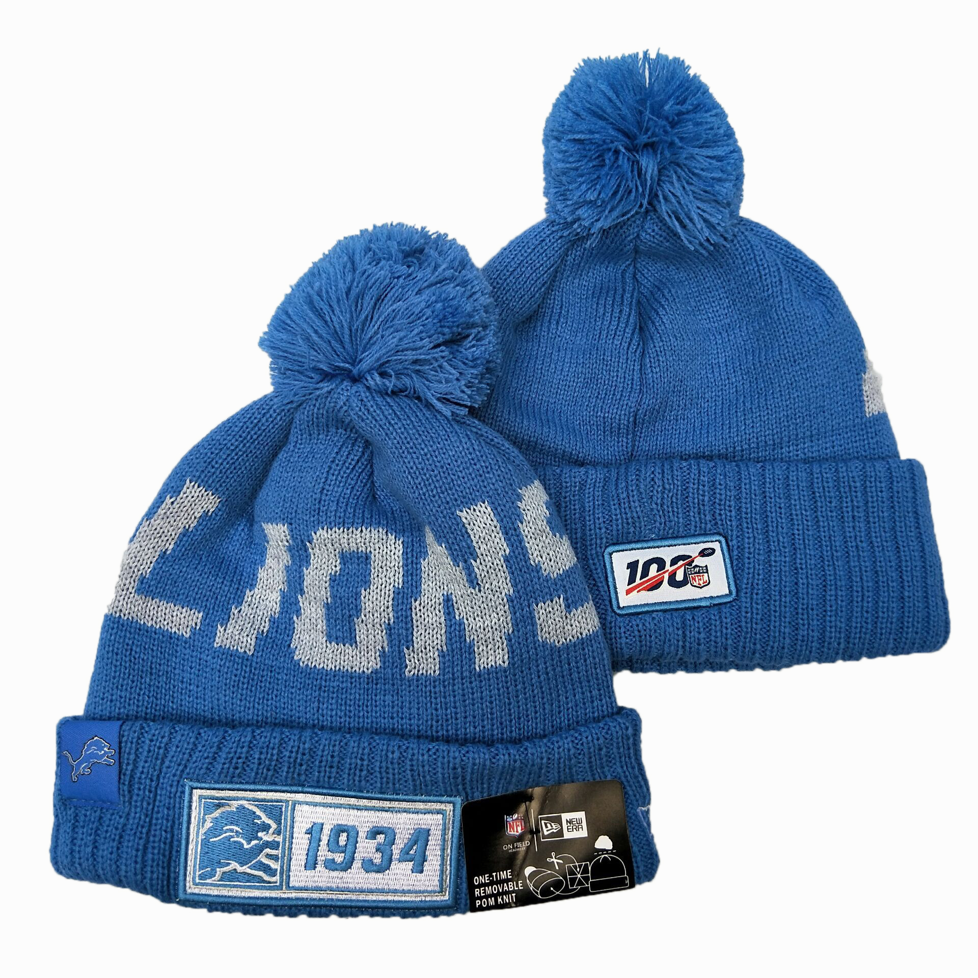NFL Detroit Lions New Era 2019 Sideline Road Reverse Sport Knit Hats 018