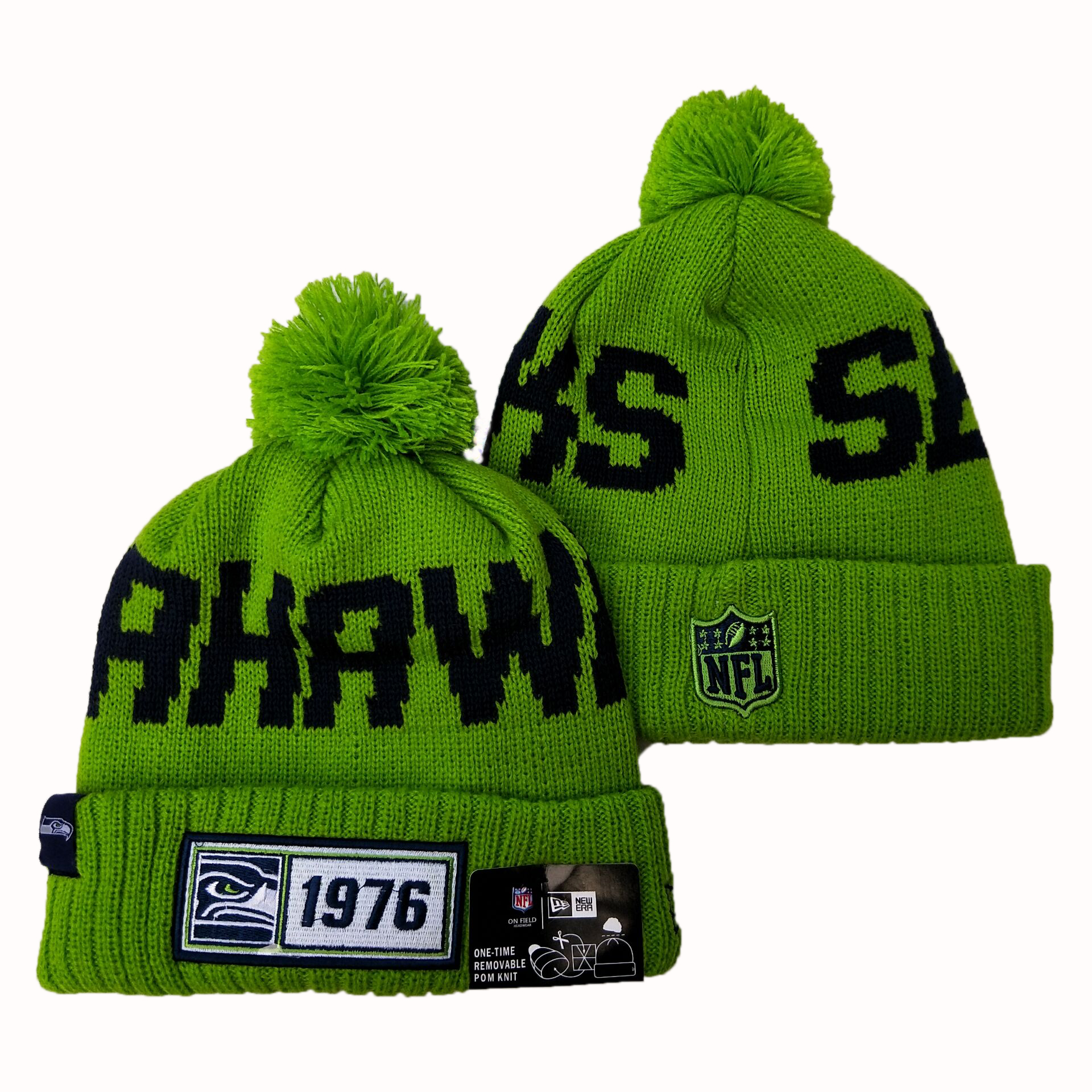 NFL Seattle Seahawks New Era 2019 Sideline Road Reverse Sport Knit Hats 049