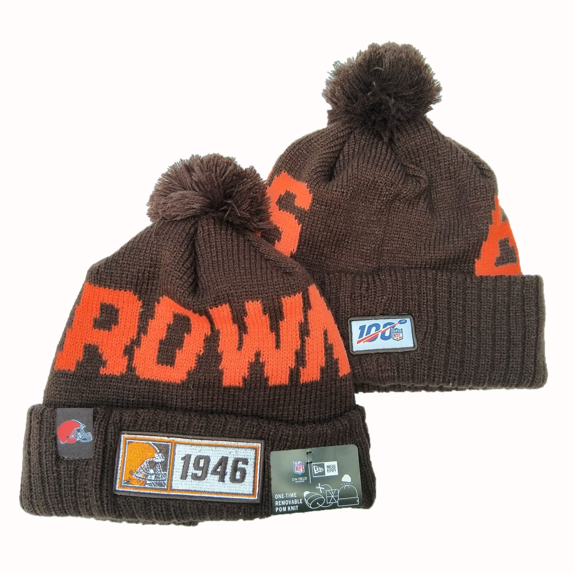 NFL Cleveland Browns New Era 2019 Sideline Road Reverse Sport Knit Hats 006