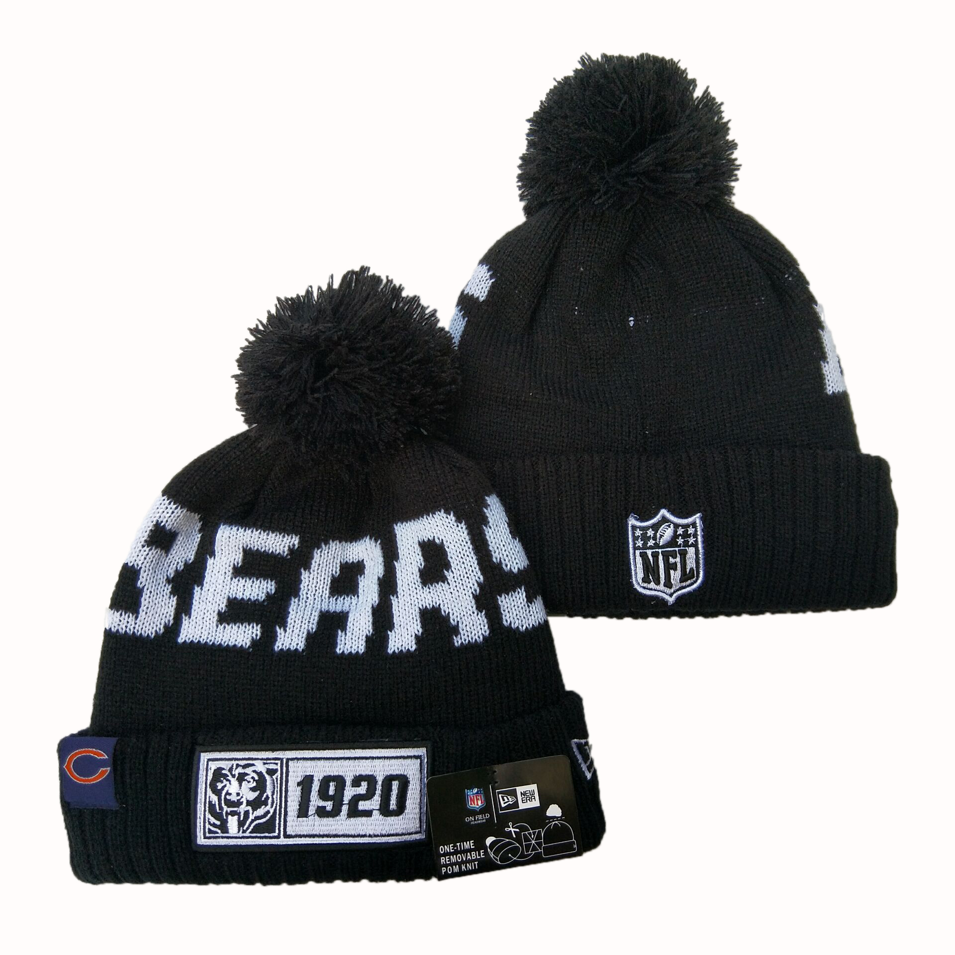 NFL Chicago Bears New Era 2019 Sideline Road Reverse Sport Knit Hats 041