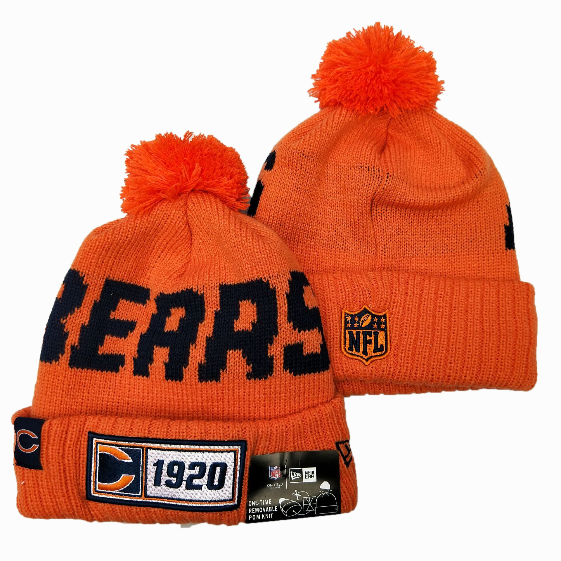 NFL Chicago Bears New Era 2019 Sideline Road Reverse Sport Knit Hats 040