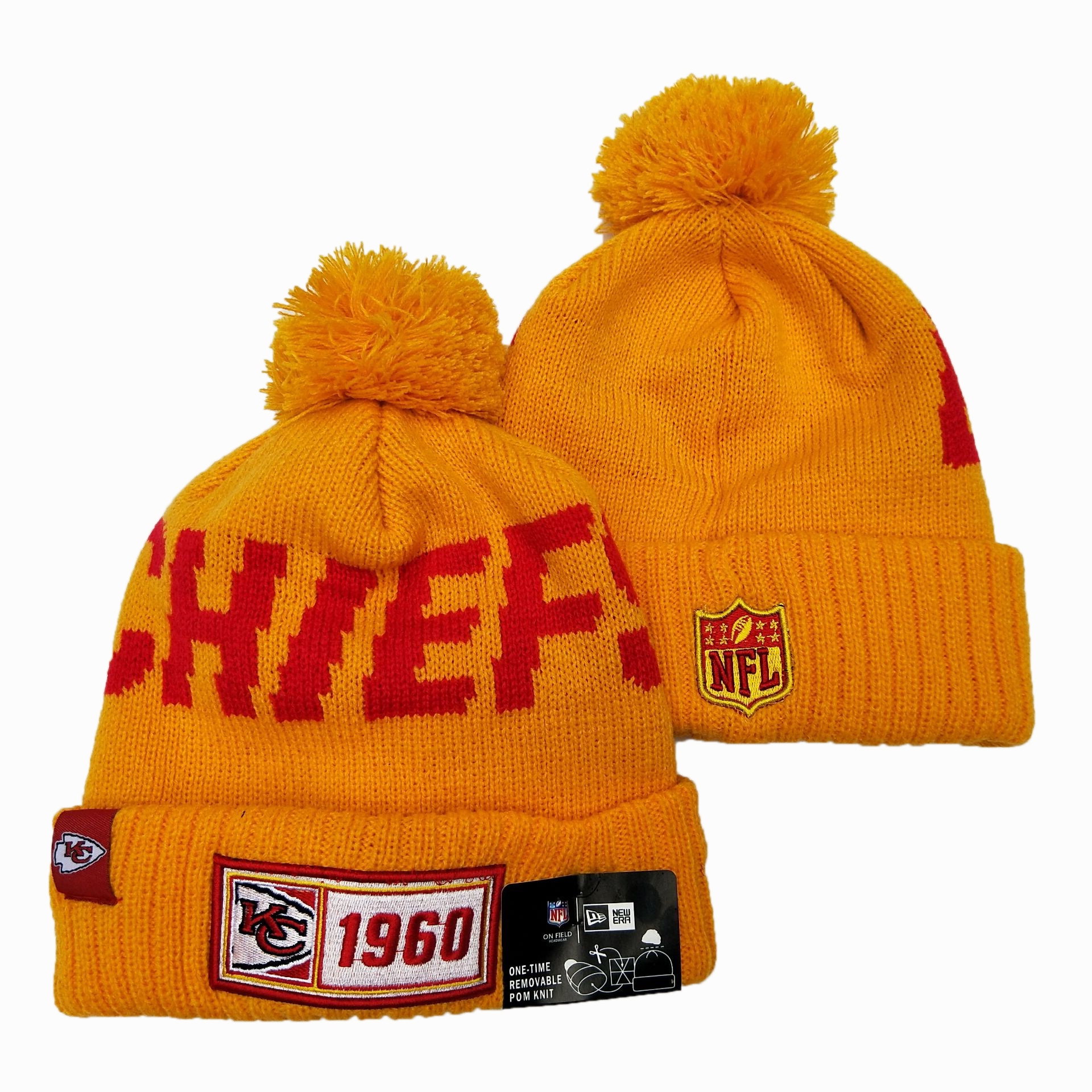 NFL Kansas City Chiefs New Era 2019 Sideline Road Reverse Sport Knit Hats 016