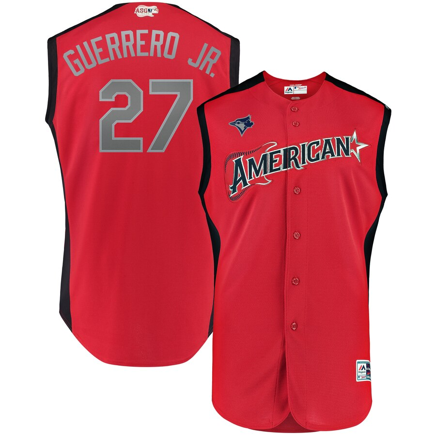 American League #27 Vladimir Guerrero Jr. Red 2019 MLB All-Star Game Workout Stitched Jersey