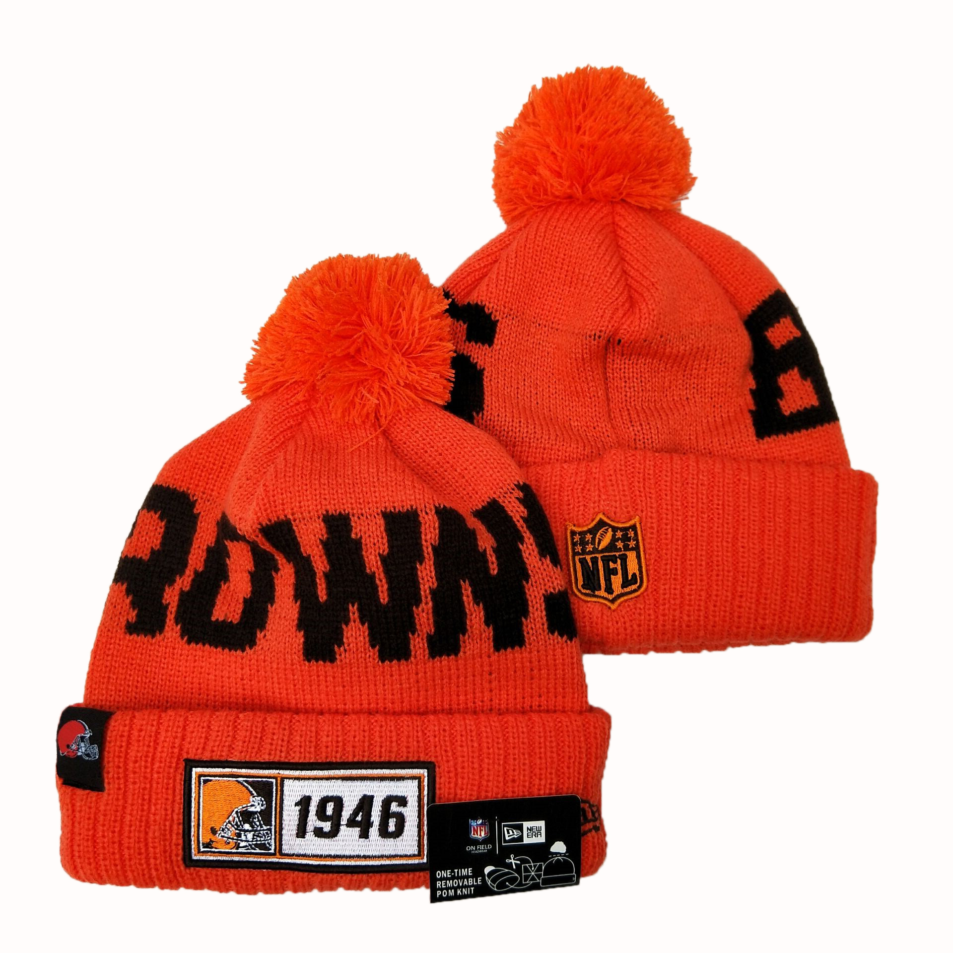 NFL Cleveland Browns New Era 2019 Sideline Road Reverse Sport Knit Hats 005