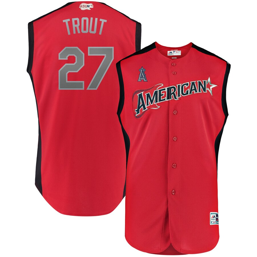 American League #27 Mike Trout Red 2019 MLB All-Star Game Workout Stitched Jersey
