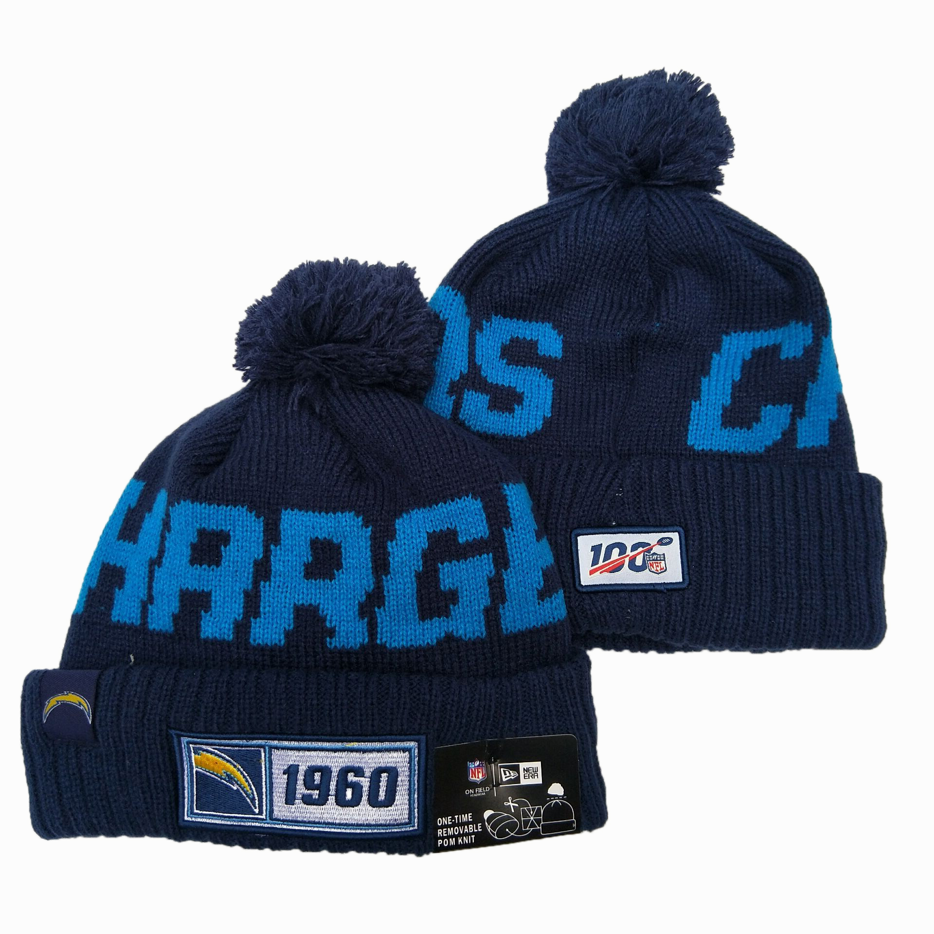 NFL Los Angeles Chargers New Era 2019 Sideline Road Reverse Sport Knit Hats 010