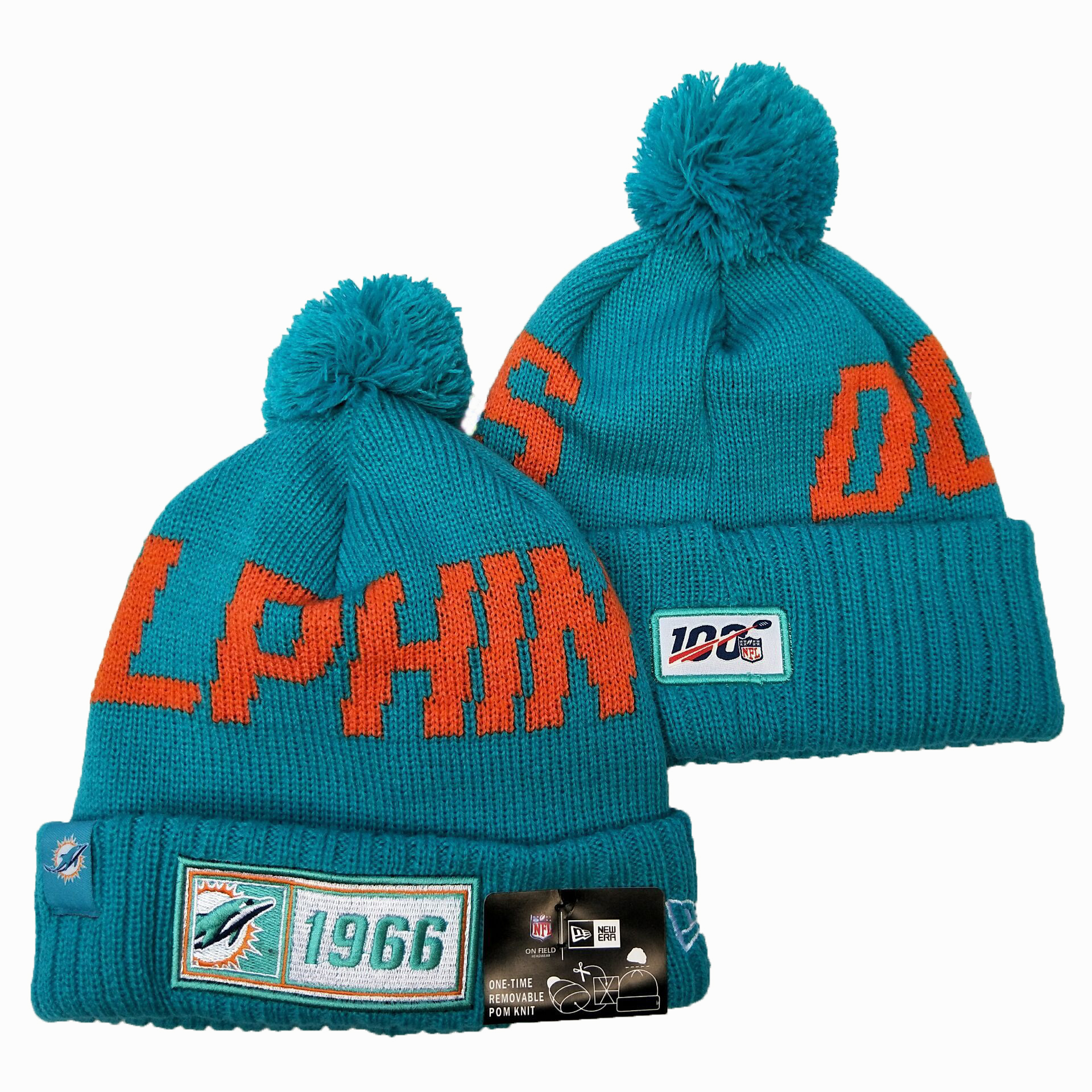 NFL Miami Dolphins New Era 2019 Sideline Road Reverse Sport Knit Hats 012