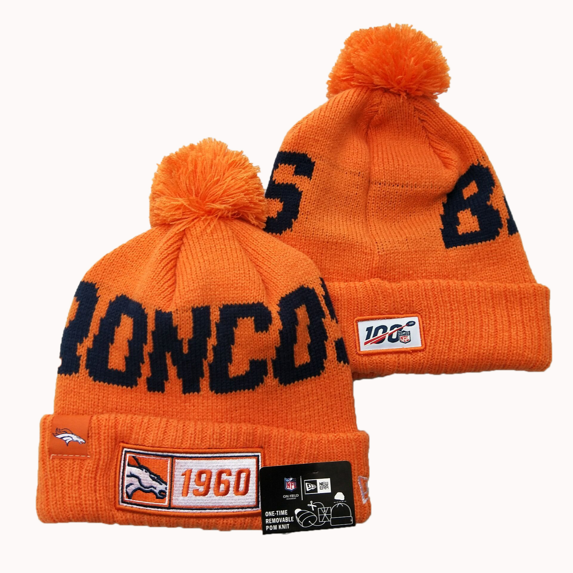 NFL Denver Broncos New Era 2019 Sideline Road Reverse Sport Knit Hats 012