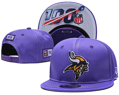 NFL Minnesota Vikings 2019 100th Season Stitched Snapback Hats 020