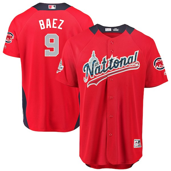 National League #9 Javier Baez Red 2018 MLB All-Star Game Home Run Derby Jersey