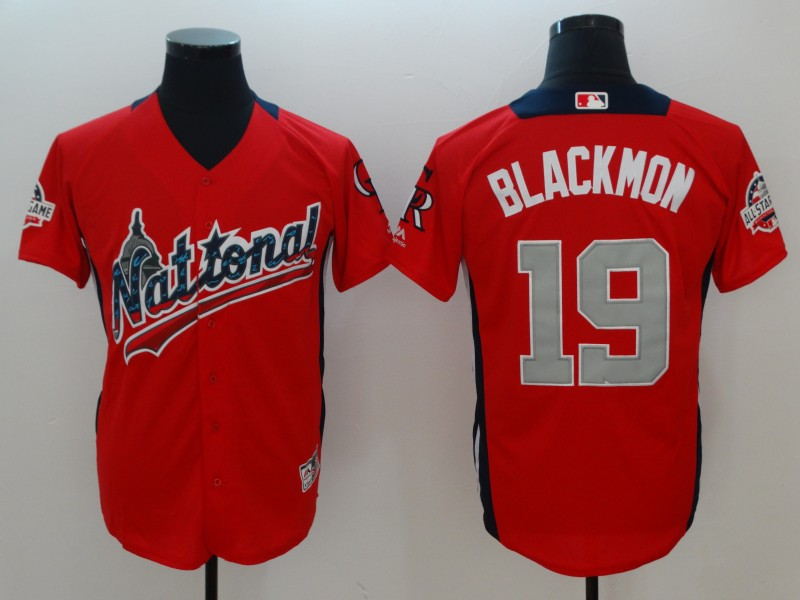 National League #19 Charlie Blackmon Red 2018 MLB All-Star Game Home Run Derby Jersey