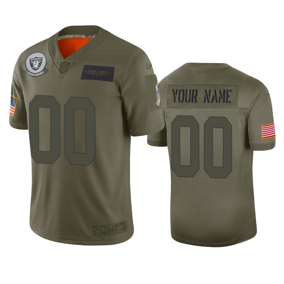 Men's Oakland Raiders Customized 2019 Camo Salute To Service NFL Stitched Limited Jersey