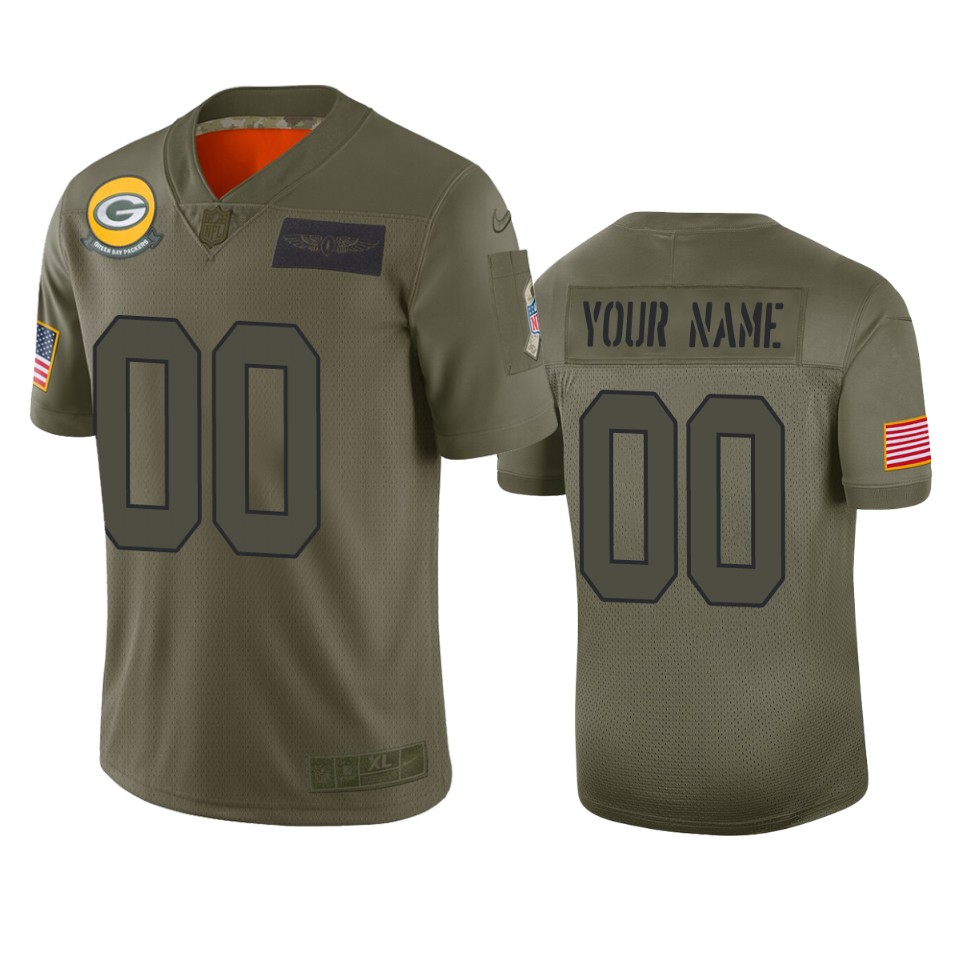 Men's Green Bay Packers Customized 2019 Camo Salute To Service NFL Stitched Limited Jersey