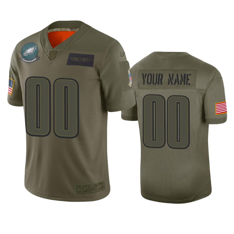 Men's Philadelphia Eagles Customized 2019 Camo Salute To Service NFL Stitched Limited Jersey