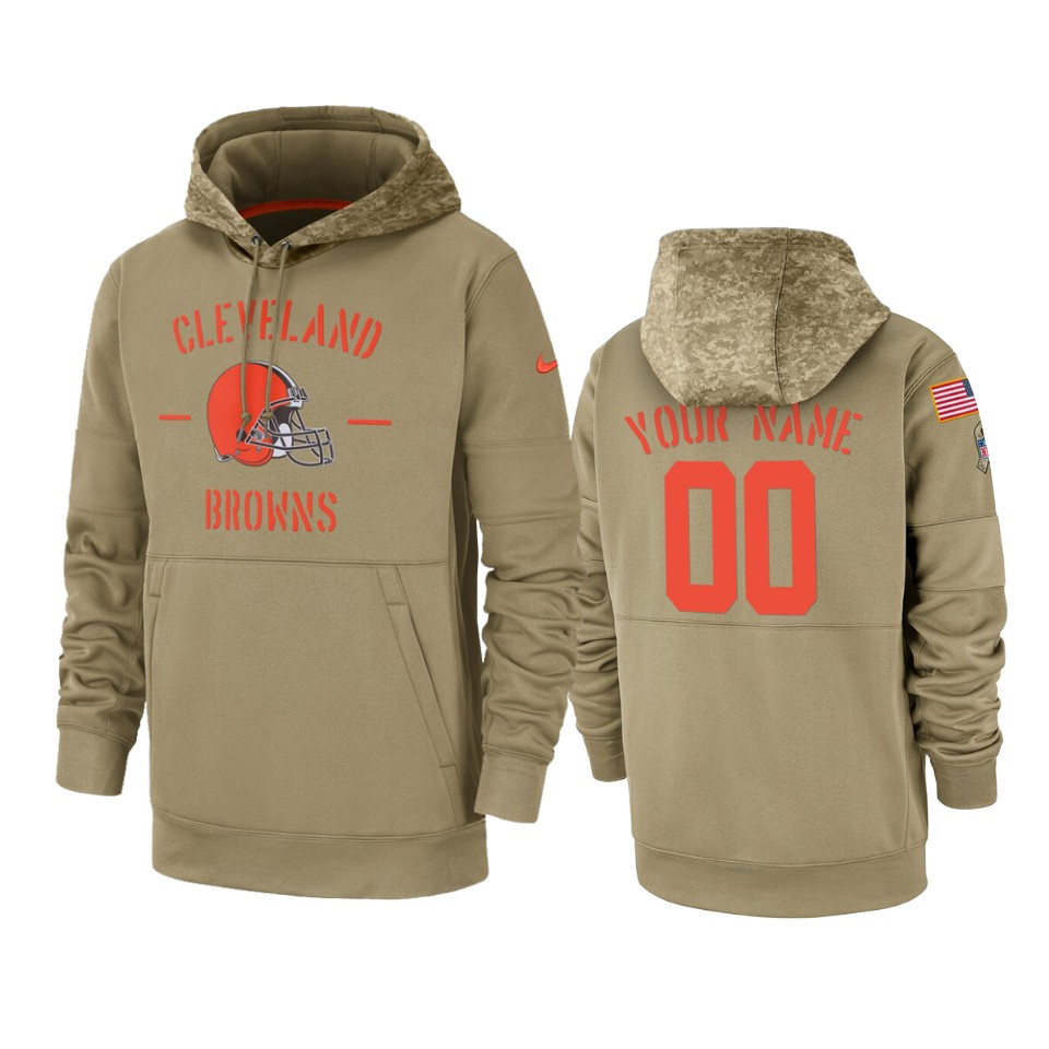 Men's Cleveland Browns Customized Tan 2019 Salute To Service Sideline Therma Pullover Hoodie