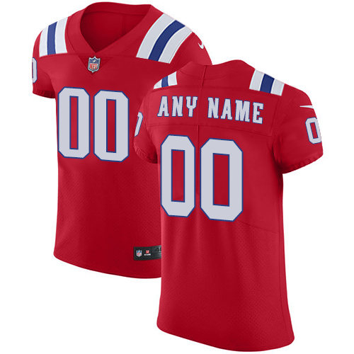 Men's New England Patriots Red Alternate Vapor Untouchable Custom Elite NFL Stitched Jersey