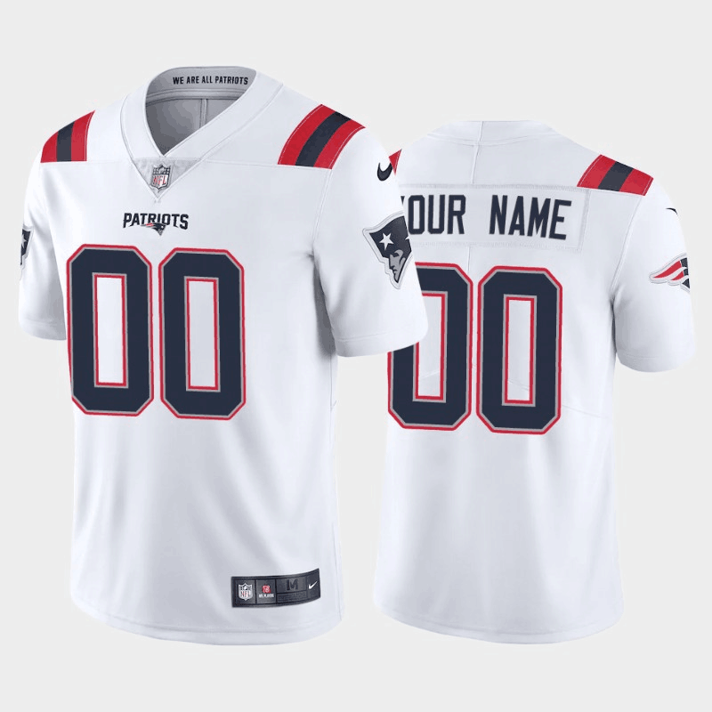 Men's New England Patriots Customized New White Vapor Untouchable Stitched Limited Jersey