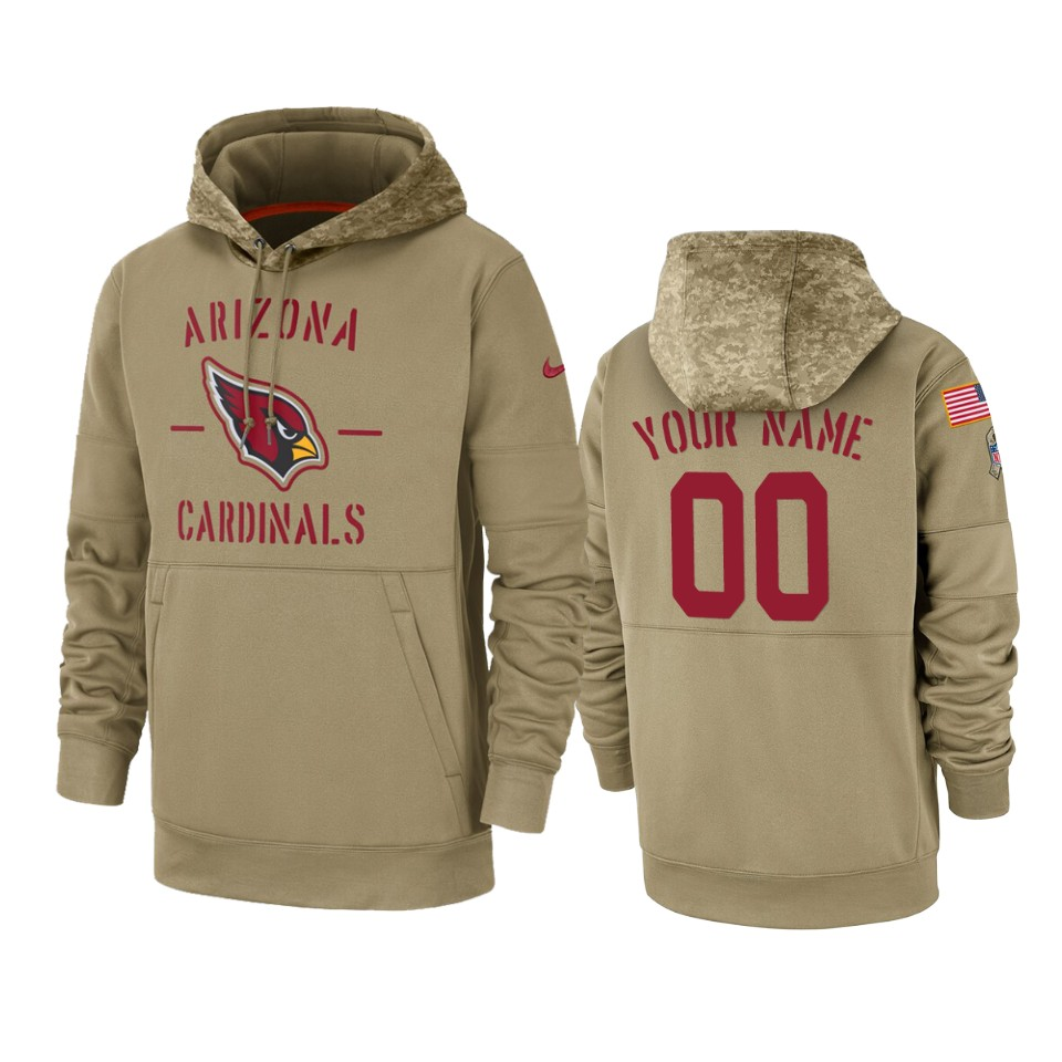 Men's Arizona Cardinals Customized Tan 2019 Salute To Service Sideline Therma Pullover Hoodie