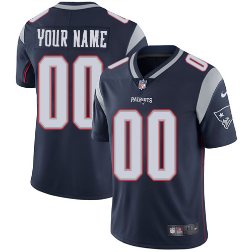 Men's New England Patriots Customized Navy Blue Team Color Vapor Untouchable Limited Stitched NFL Jersey