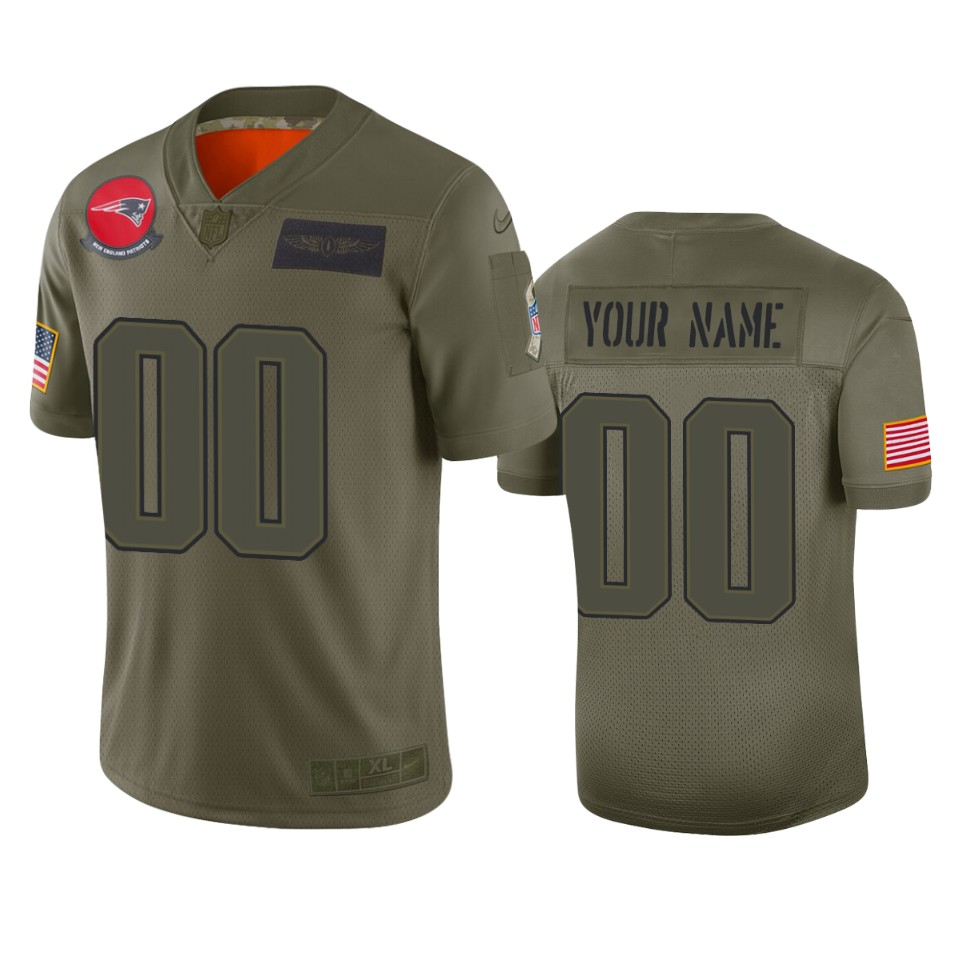 Men's New England Patriots Customized 2019 Camo Salute To Service NFL Stitched Limited Jersey