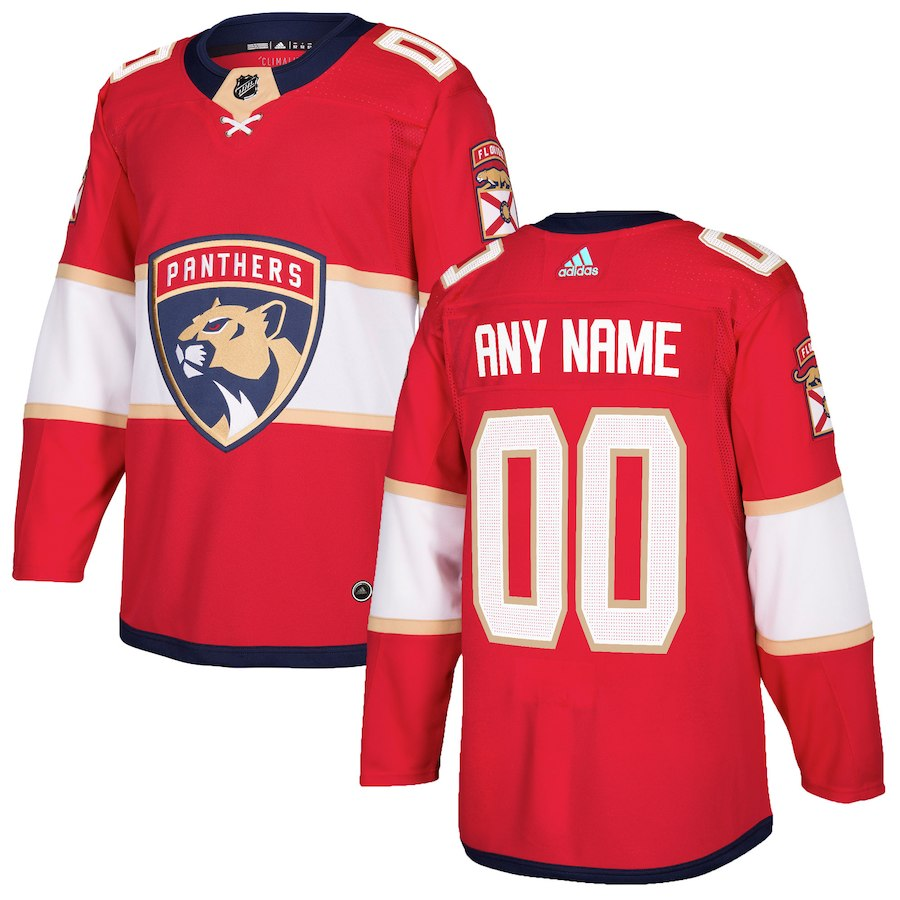 Men's Adidas Florida Panthers Personalized Authentic Red Home Stitched NHL Jersey