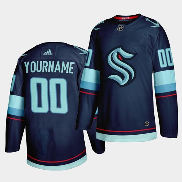 Men's Seattle Kraken Primary Logo Custom Navy NHL Stitched ...