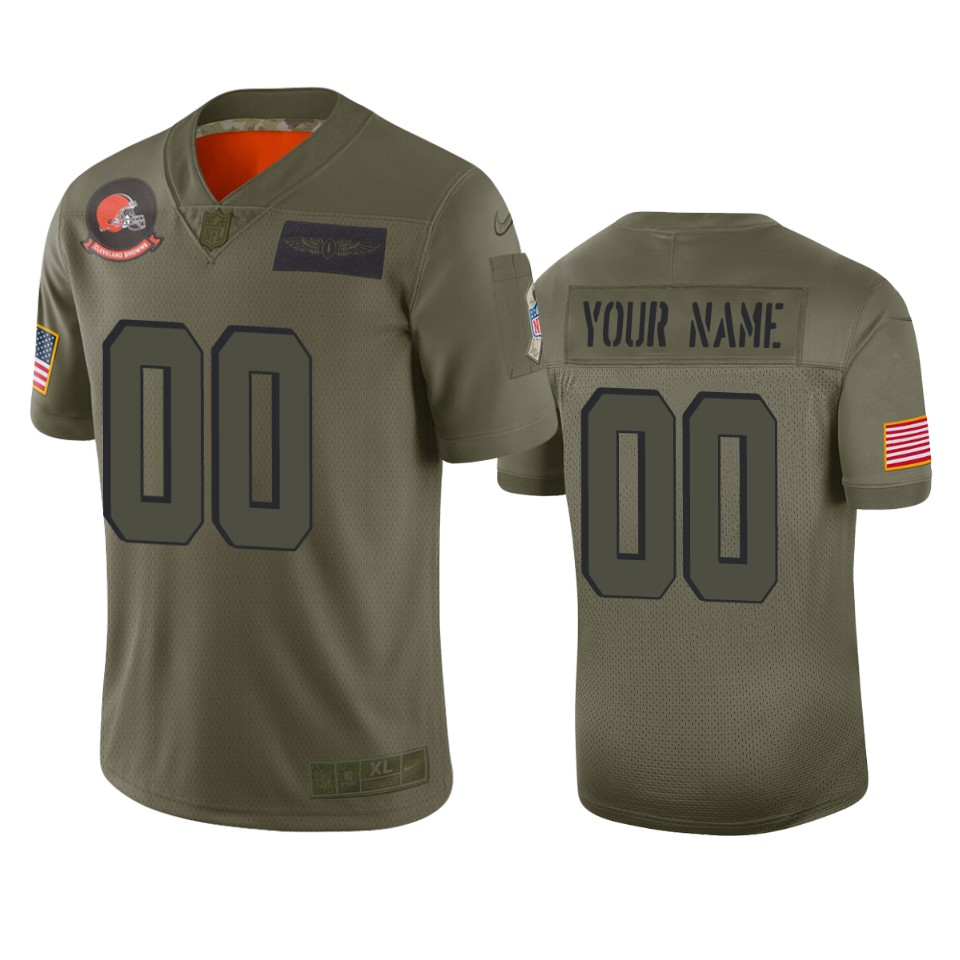 Men's Cleveland Browns Customized 2019 Camo Salute To Service NFL Stitched Limited Jersey