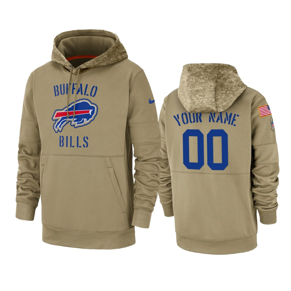 Men's Buffalo Bills Customized Tan 2019 Salute To Service Sideline Therma Pullover Hoodie