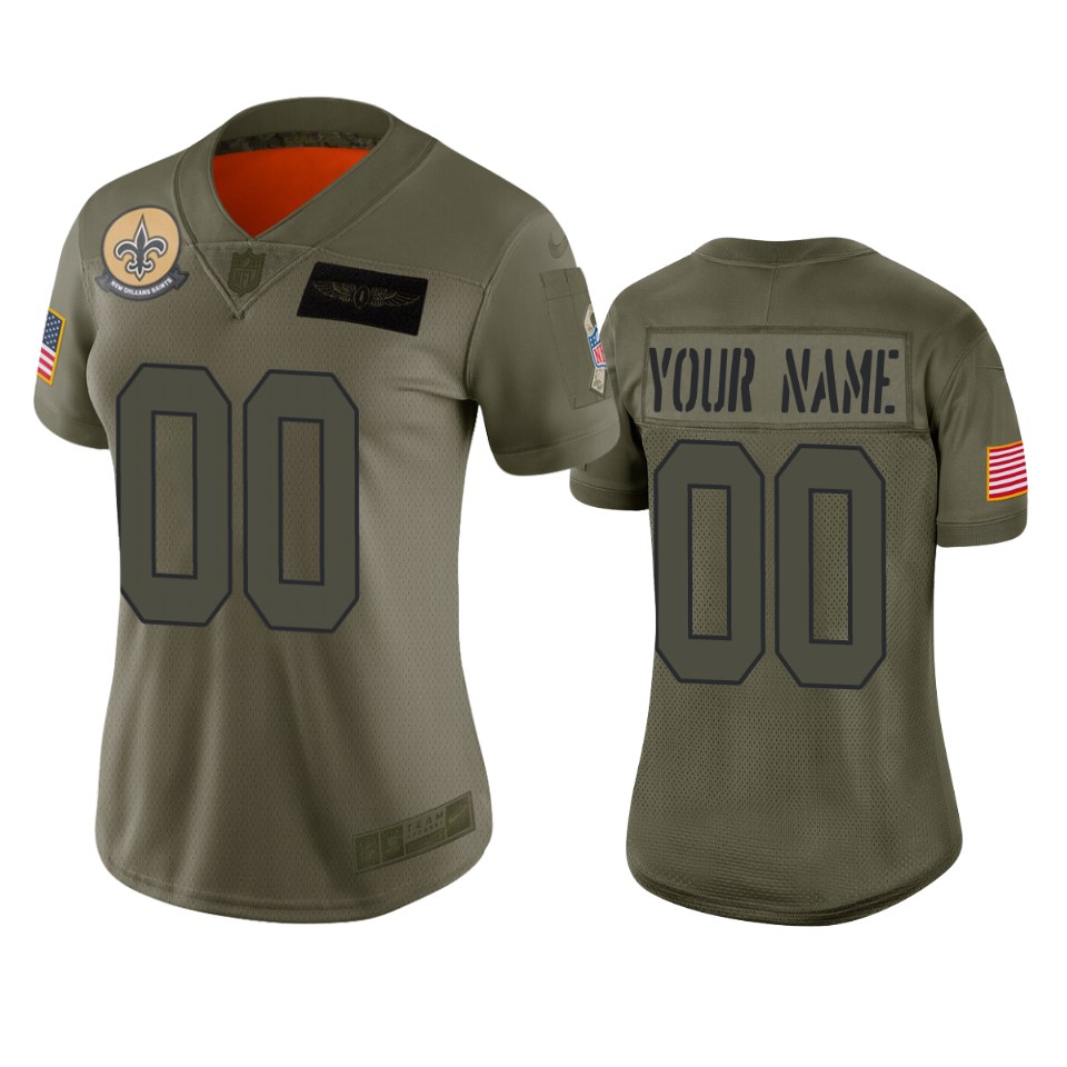 Women's New Orleans Saints Customized 2019 Camo Salute To Service NFL Stitched Limited Jersey(Run Small)