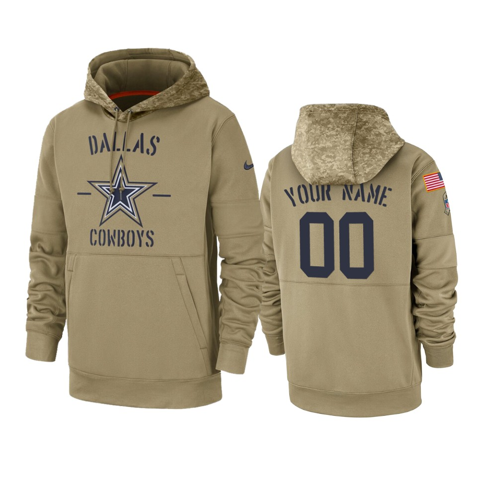 Men's Dallas Cowboys Customized Tan 2019 Salute To Service Sideline Therma Pullover Hoodie