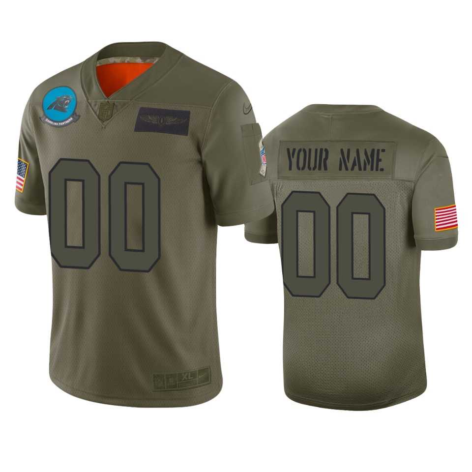 Men's Carolina Panthers Customized 2019 Camo Salute To Service NFL Stitched Limited Jersey