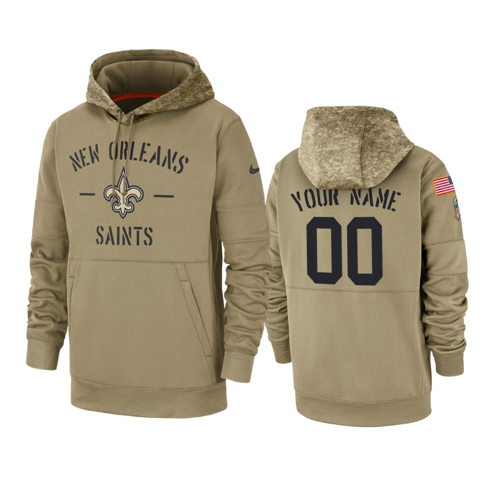 Men's New Orleans Saints Customized Tan 2019 Salute To Service Sideline Therma Pullover Hoodie