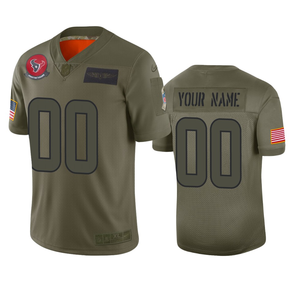Men's Houston Texans Customized 2019 Camo Salute To Service NFL Stitched Limited Jersey