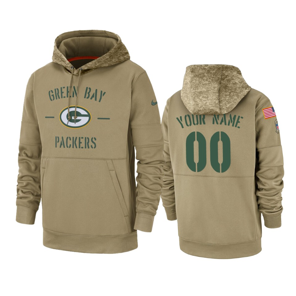 Men's Green Bay Packers Customized Tan 2019 Salute To Service Sideline Therma Pullover Hoodie