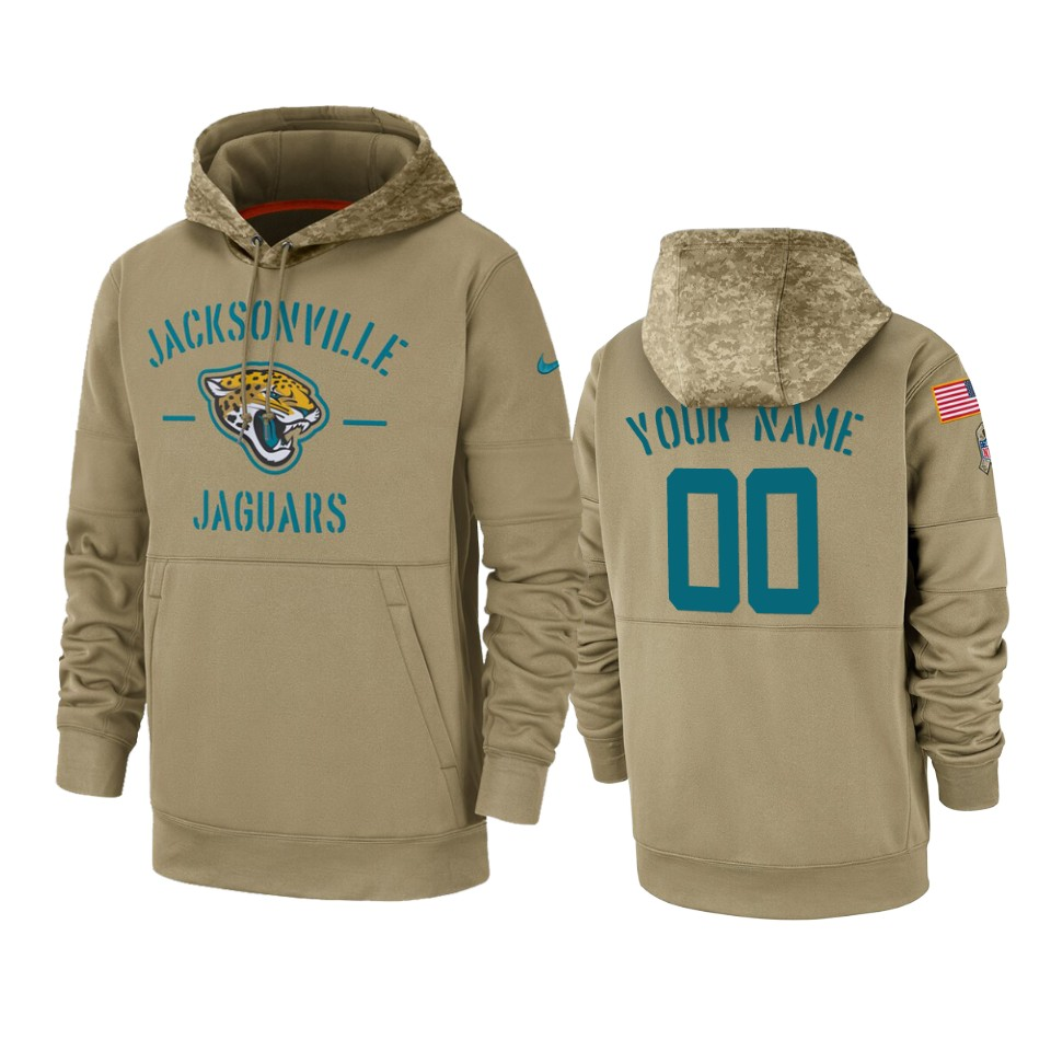 Men's Jacksonville Jaguars Customized Tan 2019 Salute To Service Sideline Therma Pullover Hoodie